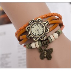 Womens Retro Leather Bracelet Butterfly Decoration Quartz Wrist Watch