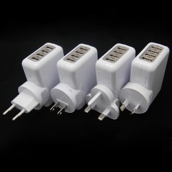 4 Plugs Universal 4 Port USB 2.1A Charger AC Adapter US / EU / UK / AU Plug Adapter Converter Wall Charger for iPhone 4,4S,5,5s
