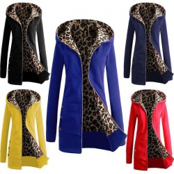 Women's Winter Jacket Plus Size XXL 2016 Autumn hooded Coat Leopard Printed Zip Up Hoody Womens Clothing Jacket Long Sleeve Coat
