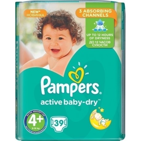 Pampers Baby Dry No 4+  (9-18Kg) 39τμχ
