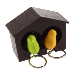 Lover Sparrow Key Ring Birdhouse Keychain Gadget Home Bird Nest Wall Hook